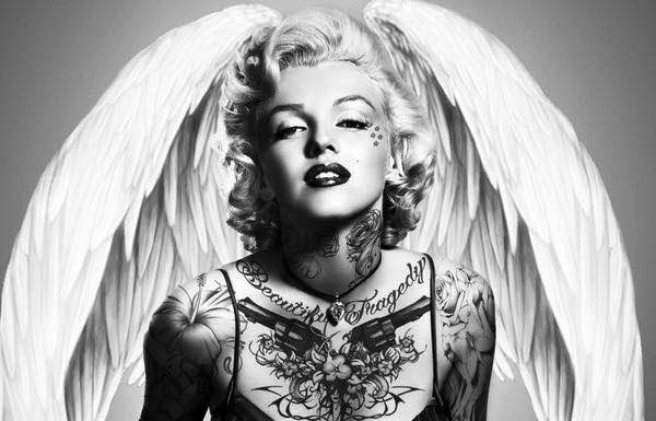 XXL LEINWANDBILDER - MARILYN MONROE SCHWARZ WEISS ENGEL HOLLYWOOD TATTOO