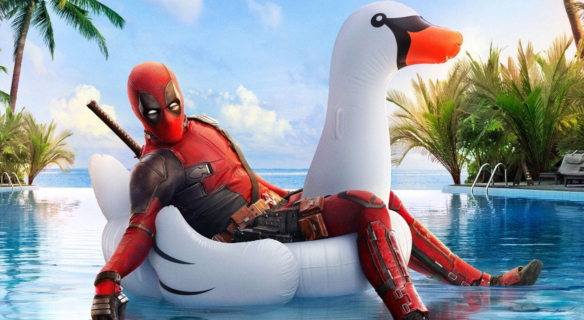 X110 -  - XXL Leinwandbilder Deadpool Filme Lustig Hollywood Wasser