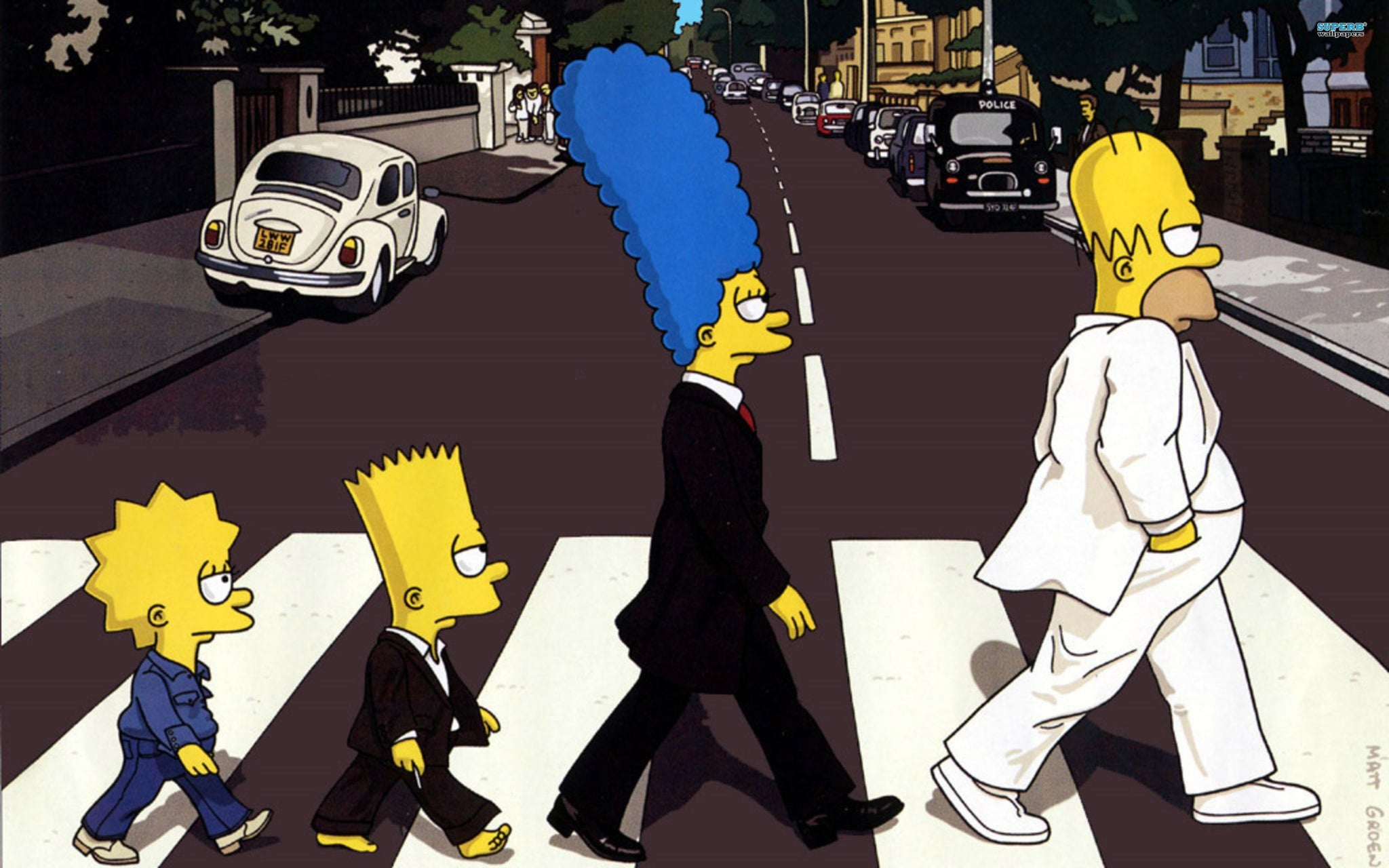 X144  - XXL Leinwandbilder Simpsons Beatles Cartoon Handgemalt Lustig Homer