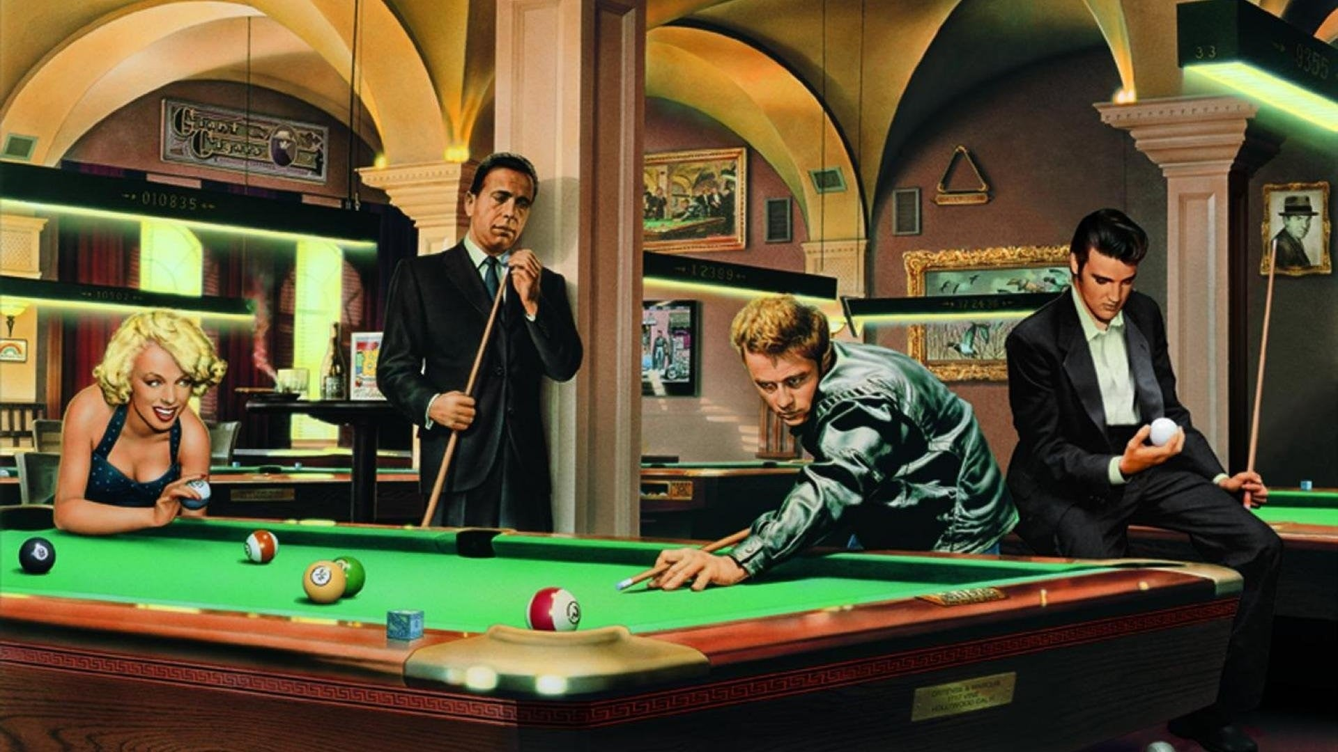 XXL Leinwandbilder Marilyn Monroe Elvis James Dean Humphrey Bogart Film Legenden Retro Billard Pool Snooker