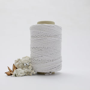 White // Macrame Cotton Rope - 3Ply Twisted Rope - Mary Maker Studio - [macrame] - [weaving] - [macrame_art] - [macrame_rope] - [macrame_cord] - [macrame_workshops] - [macrame_string] - [learn-_to_macrame] - [macrame_patterns]