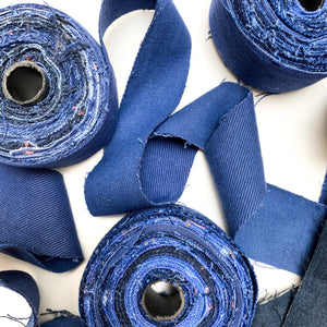Recycled Denim Ribbon -  - Mary Maker Studio - [macrame] - [weaving] - [macrame_art] - [macrame_rope] - [macrame_cord] - [macrame_workshops] - [macrame_string] - [learn-_to_macrame] - [macrame_patterns]