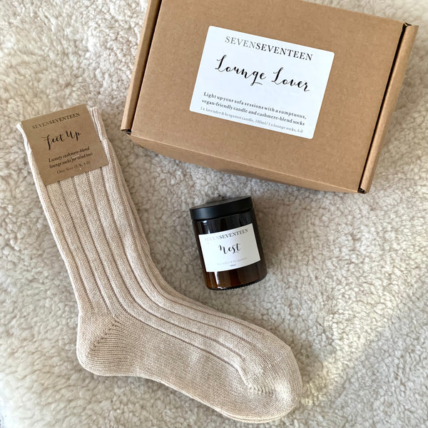 Lounge Lover Socks / Lavender & Bergamot candle