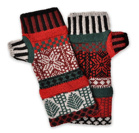 Fingerless Mittens Poinsettia