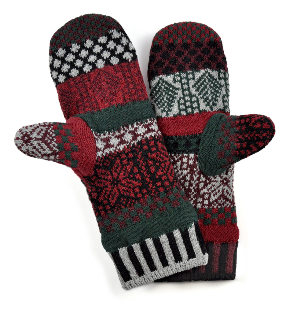 Mittens Fleece Lined Poinsettia
