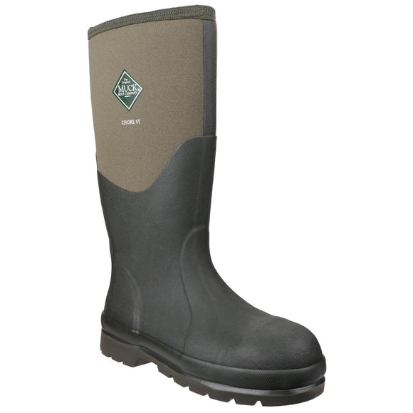 Muck Boot Safety Wellingtons Muck Boots Chore with Steel Toe Cap - Moss