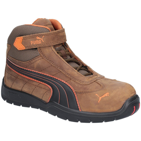 Puma Safety Safety Boots Puma Safety Brown Indy Mid Mens Velcro Safety Boot