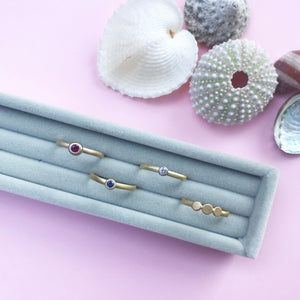 18ct gold and platinum, diamond, sapphire, ruby, bezel set stacking ring, handmade jewellery by AB Jewellery, Goldsmith