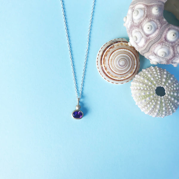 9ct gold and amethyst pendant on silver chain and gold detailing, handmade jewellery by AB Jewellery, Goldsmith