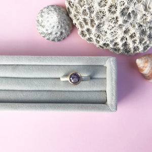 9ct gold and amethyst ring on silver shank, handmade jewellery by AB Jewellery, Goldsmith