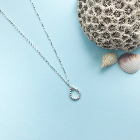 sterling silver dewdrop bobble pendant with polished finish and choice of chain length, made by Ami of AB Jewellery, Goldsmith