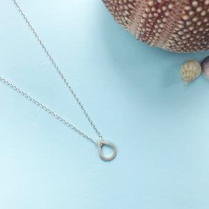 sterling silver dewdrop square pendant with matt finish and choice of chain length, made by Ami of AB Jewellery, Goldsmith