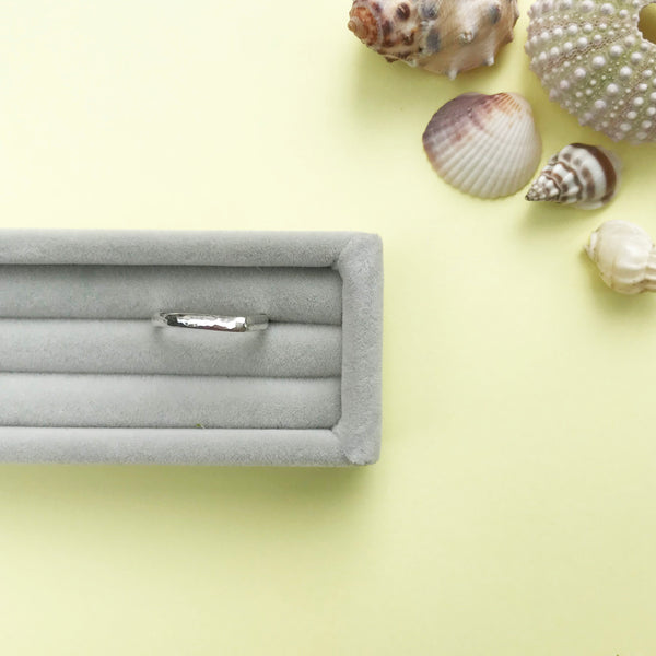 sterling silver dewdrop hammered D shape stacking ring with a choice of finish, made by Ami of AB Jewellery, Goldsmith