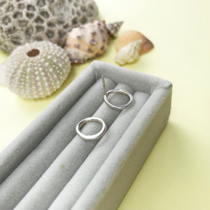 sterling silver pebble earrings with a choice of finish, made by Ami of AB Jewellery, Goldsmith