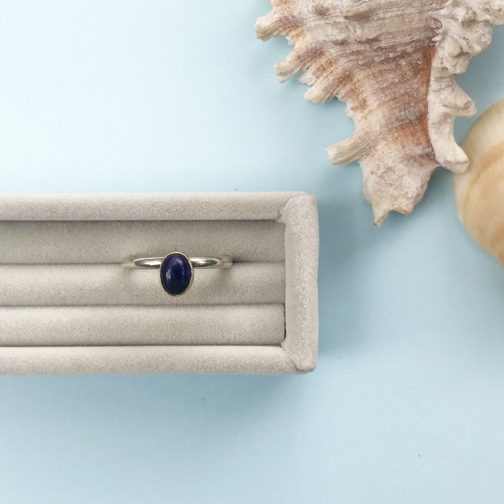 18ct gold and lapis lazuli stacking ring, silver, handmade jewellery by AB Jewellery, Goldsmith