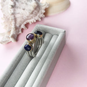 18ct gold and star ruby, amethyst, lapis lazuli bezel set stacking ring, handmade jewellery by AB Jewellery, Goldsmith