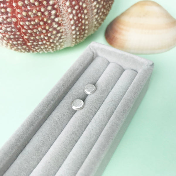 Bubble studs, sterling silver circle earrings