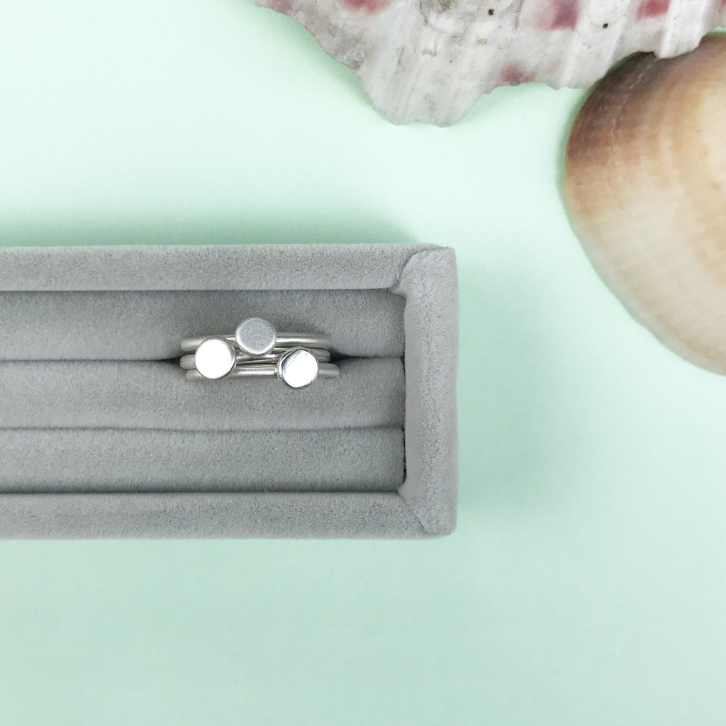 silver bubble stacking rings with a choice of finish, personalised jewellery, made by Ami of AB Jewellery, Goldsmith