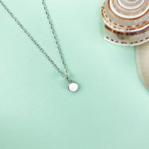 silver bubble pendant with a choice of semi precious gemstone and chain length, personalised jewellery, made by Ami of AB Jewellery, Goldsmith