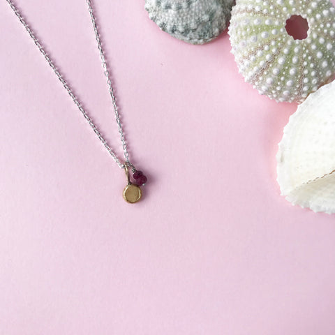 18ct gold and silver necklace, pendant with gemstone, handmade jewellery by AB Jewellery, Goldsmith