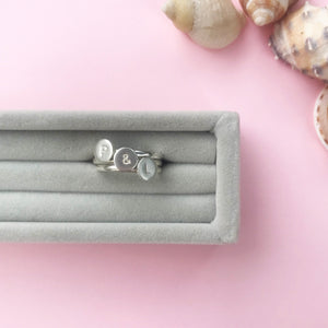 sterling silver say it with a letter stacking ring, personalised jewellery, made by Ami of AB Jewellery, Goldsmith
