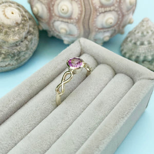 Infinite love white gold and purple sapphire ring