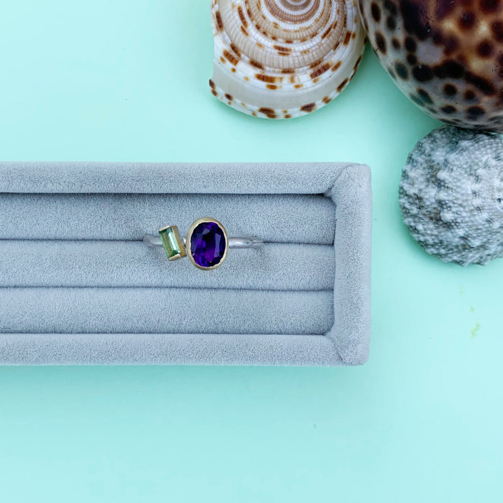 18ct Gold Amethyst and Tsavorite Garnet ring