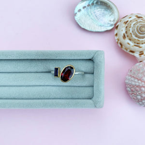 18ct Gold Garnet and Iolite ring