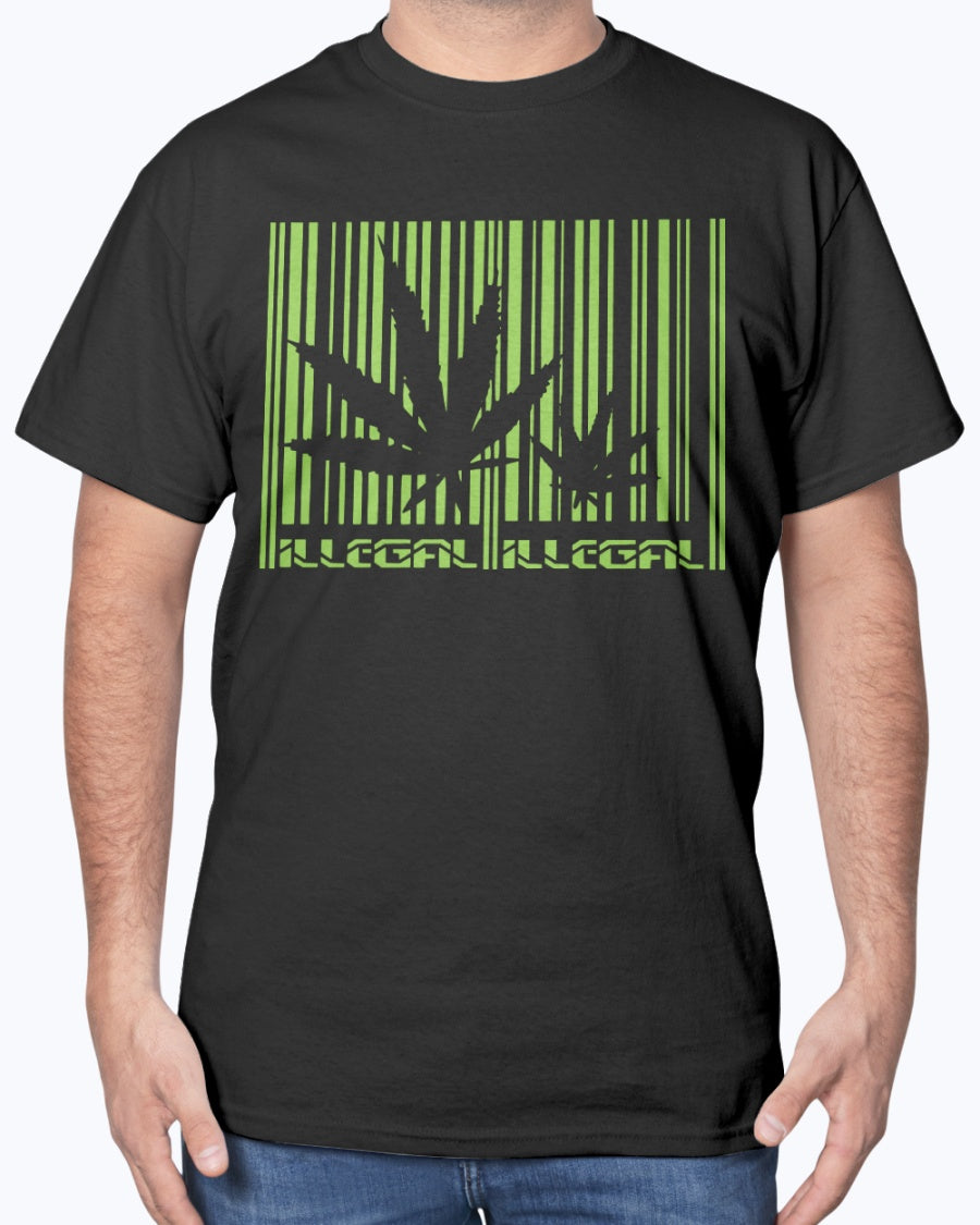 Illegal Cannabis is Illegal barcode shirt