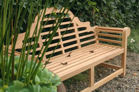 Marlborough teak wood bench in garden