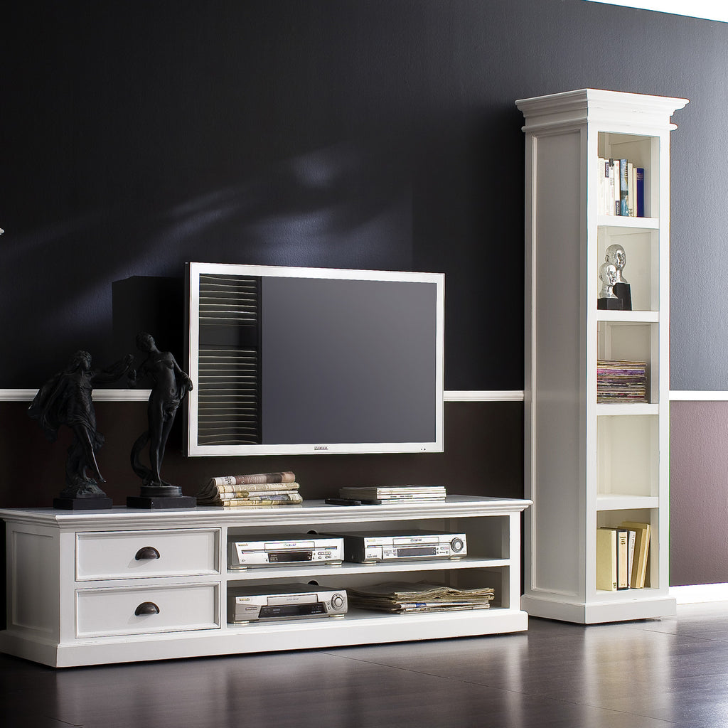 Danish Furniture | White Mahogany TV Console / Media Center. | H12086 -  Furniture - Teakwood Central