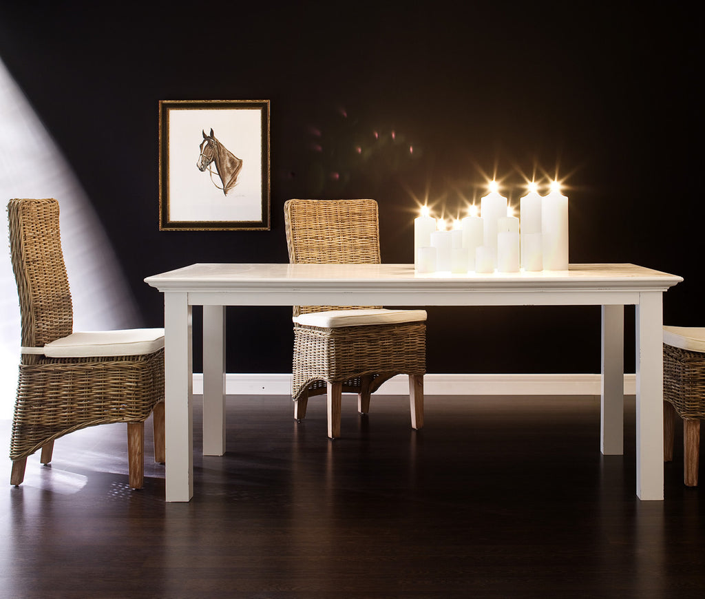 "Danish Furniture | White 70"" Mahogany Dining Table 