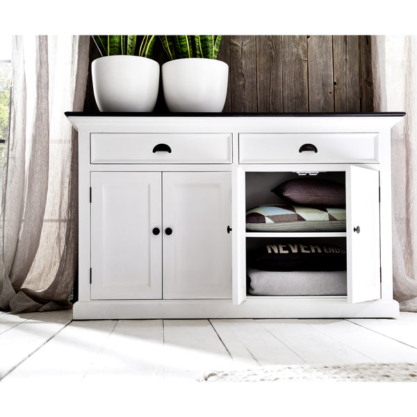 White Danish Buffet w/Black Contrast Top 2 Drawers & 4 Doors |H15438 -  Furniture - Teakwood Central