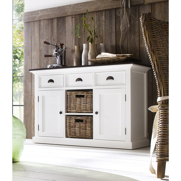 White Danish Buffet w/Black Top 3 Drawers 2 Doors & 2 Baskets |H15445 -  Furniture - Teakwood Central