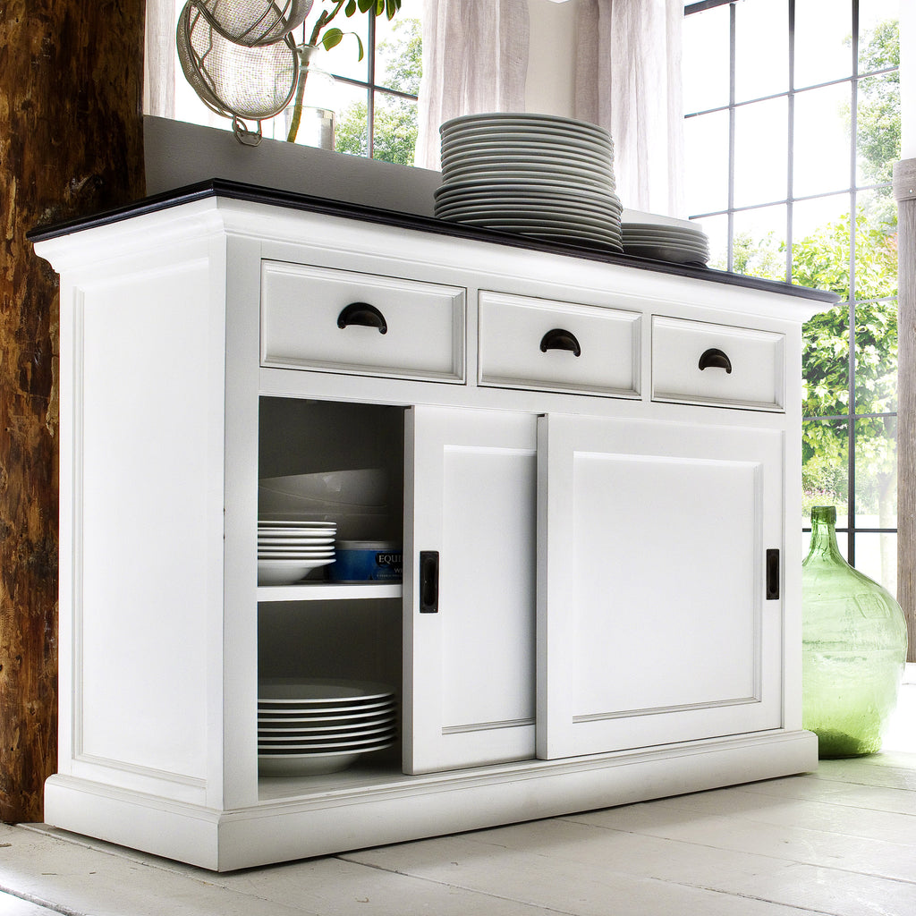 White Danish Buffet w/Black Top 3 Drawers & 2 Sliding Doors |H15452 -  Furniture - Teakwood Central