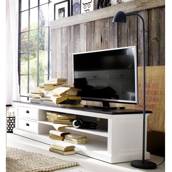White Danish TV Console & Media Center w/Black Top 2 Drawers |H15483 -  Furniture - Teakwood Central