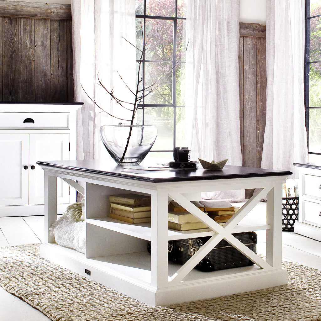 White Danish Mahogany Coffee Table w/Black Contrast Top |H15490 -  Furniture - Teakwood Central