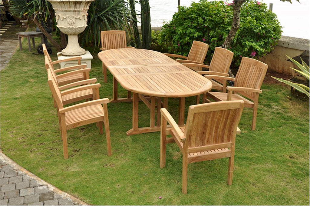 "Anderson Teak | 106"" Oval Extension Table w/ 8 Stacking Armchairs 