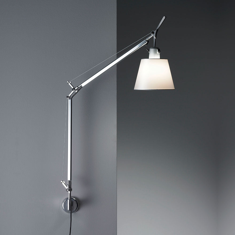 artemide tolomeo with shade wall lamp teakwood central