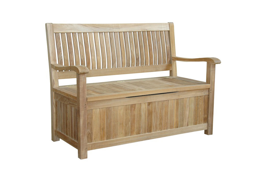 Anderson Teak | Del Amo Storing Teak Garden Bench |BH-152SB -  Furniture - Teakwood Central