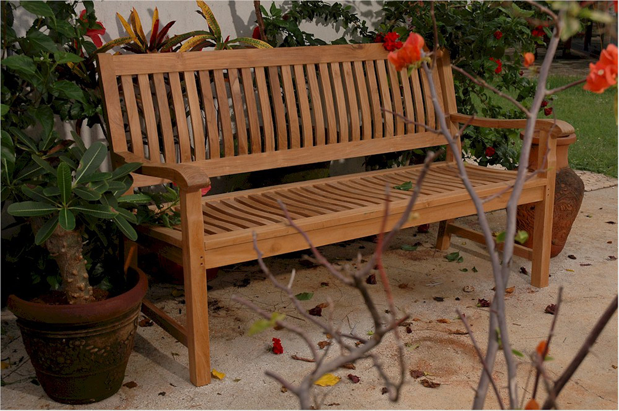 Anderson Collection | Solid Del-Amo 4-Seat Teak Garden Bench ...