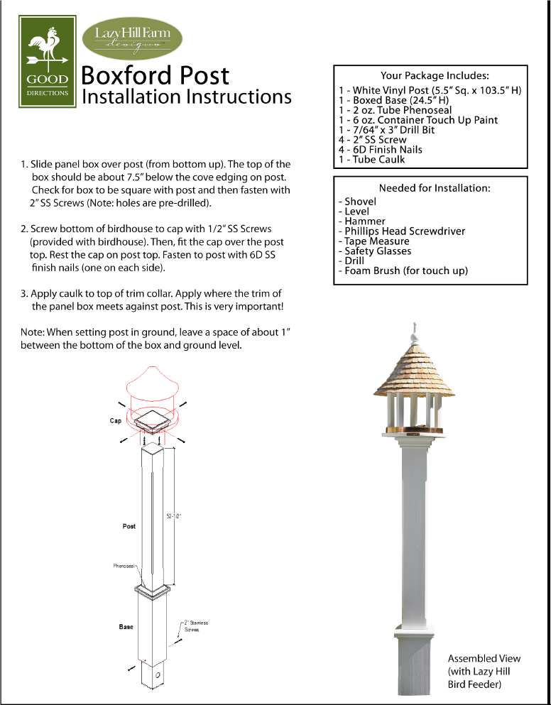 Installation Guide for Bird House/Feeder Posts -   - Teakwood Central