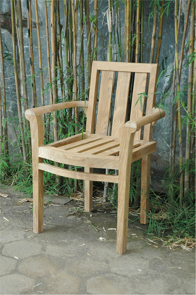 Anderson Teak | Classic Stackable Teak Armchair - Set of 4 |CHS-011A -  Furniture - Teakwood Central