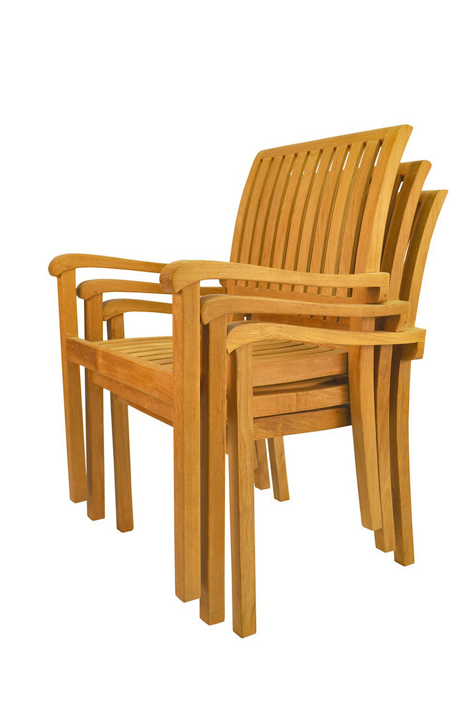 Anderson Teak | Aspen Stackable Teak Armchair - Set of 4 |CHS-055 -  Furniture - Teakwood Central