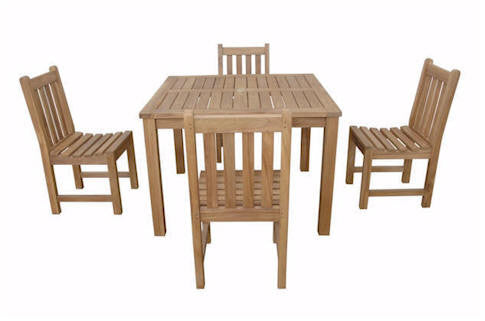 "Anderson Teak | 42"" Square Table w/ 4 Dining Chairs by Chapman 