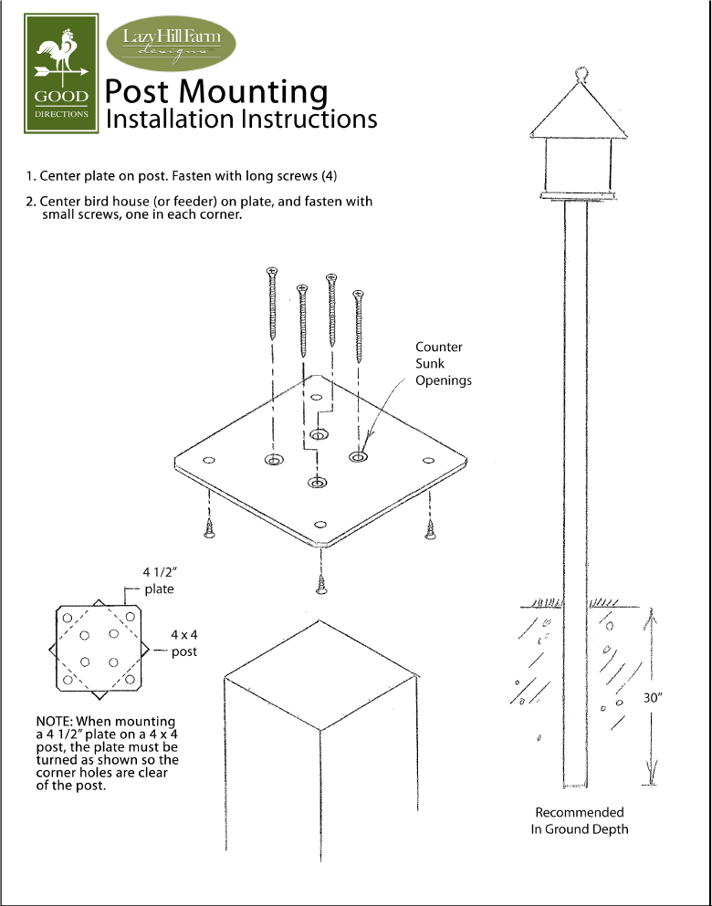 Bird House / Vinyl Feeder Post Installation Guide -   - Teakwood Central