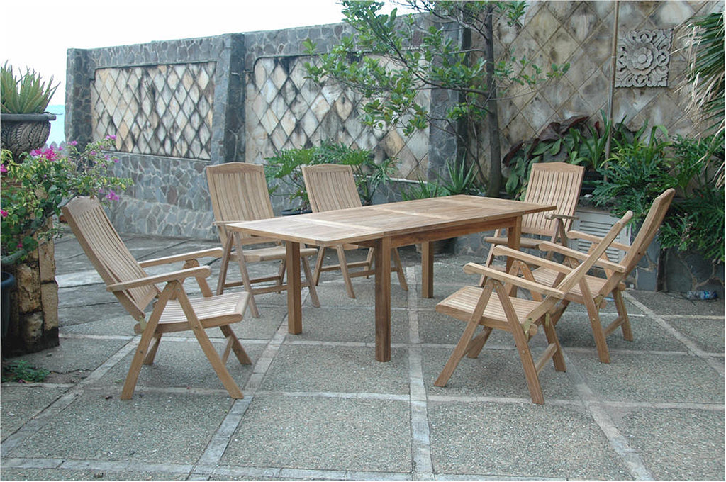 Anderson Teak | Rectangle Teak Extension Table w. 6 Recliner Armchairs |SET-01 -  Furniture - Teakwood Central