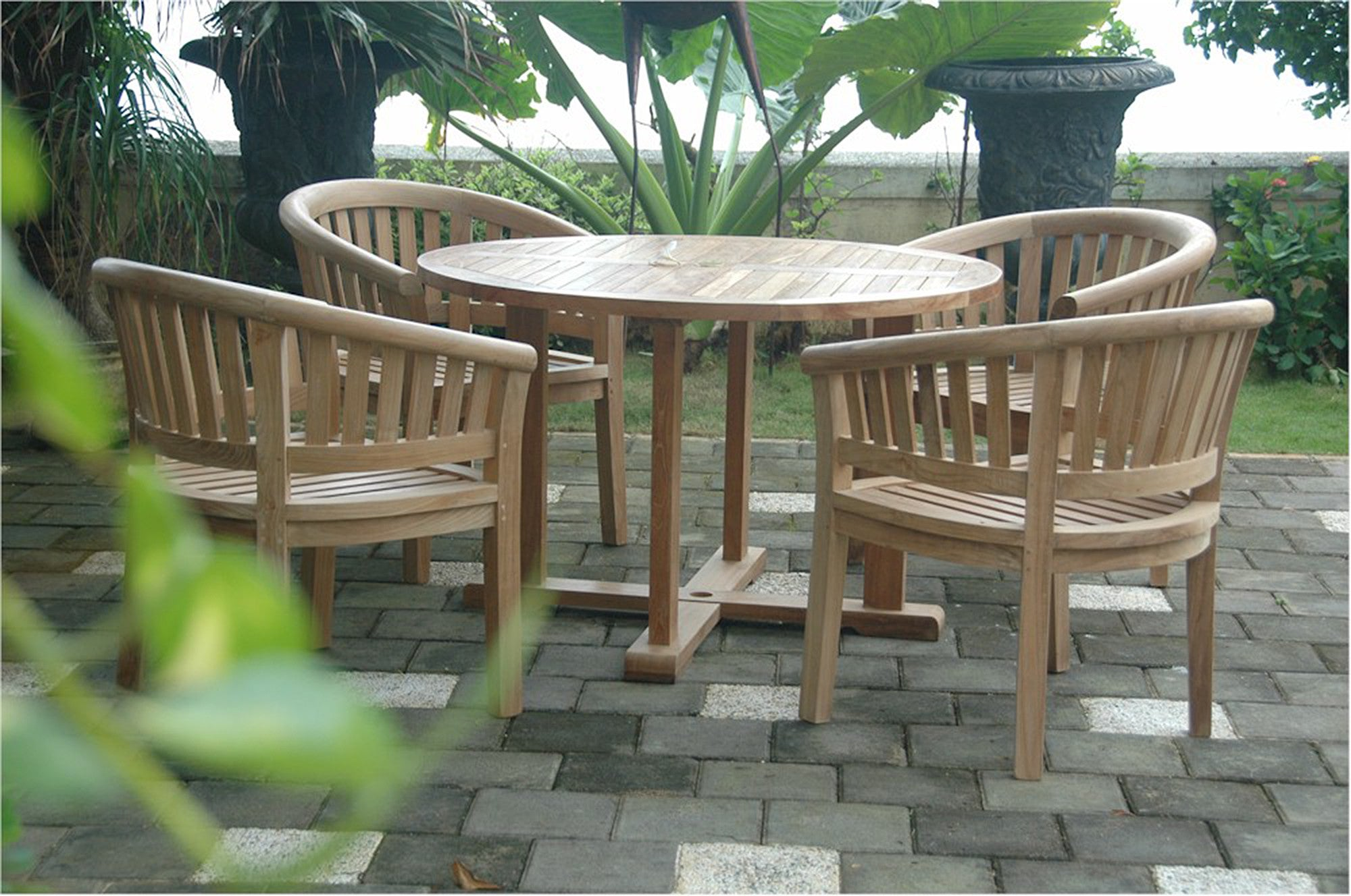 Anderson Round Table Armchair PcTeak Dining Set Teakwood - Anderson round table