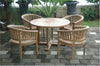 "Anderson Teak | 47"" Round Table & Armchair 5 pc.Teak Patio Dining Set 