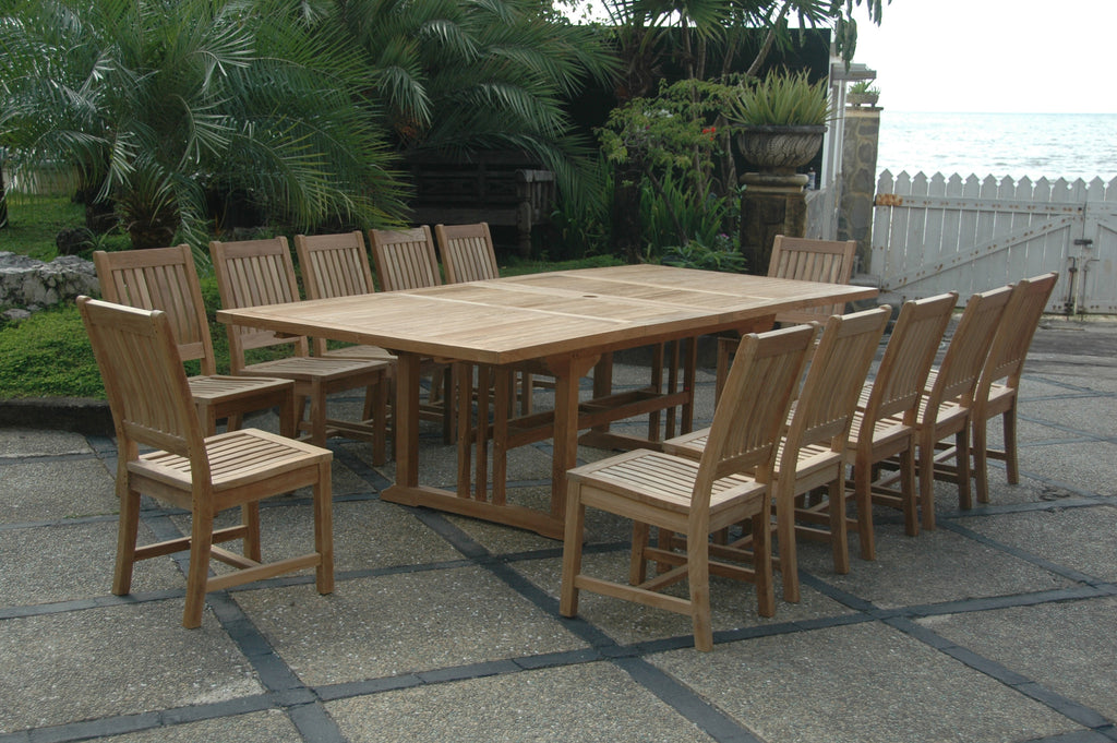 "Anderson | Rectangular 95"" Double Ext. Table w. 12 Rialto Dining Chairs 